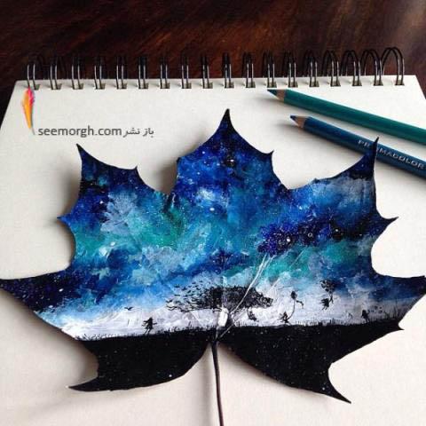 نقاشی برروی برگ های پاییزی