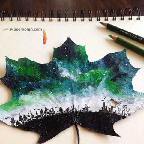 نقاشی برروی برگ های پاییزی 2