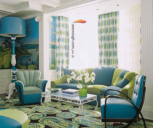 فرش با طیف رنگی متناسب با مبلمان آبی فیروزه ای برای دکوراسیون داخلی