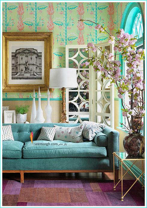 فرش ماشینی مدرن متناسب با مبلمان آبی فیروزه ای برای دکوراسیون داخلی