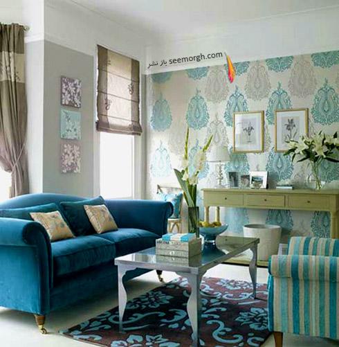 فرش ماشینی طرحدار متناسب با مبلمان آبی فیروزه ای برای دکوراسیون داخلی