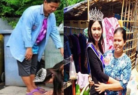 ملکه زیبایی تایلند پای مادرش را بوسید!