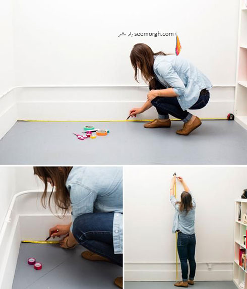 مرحله اول درست کردن کاغذ دیواری با نوارهای رنگی