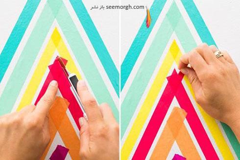 مرحله سوم درست کردن کاغذ دیواری با نوارهای رنگی