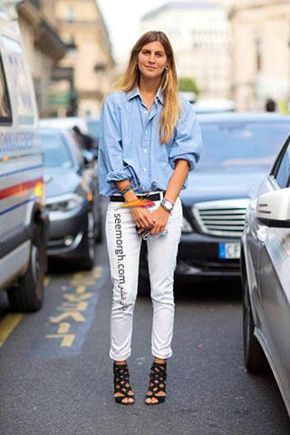 یک تیپ جین پاییزی با شلوار سفید