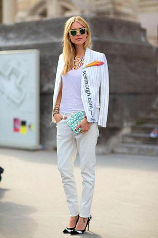 یک تیپ شیک رسمی پاییزی با شلوار سفید