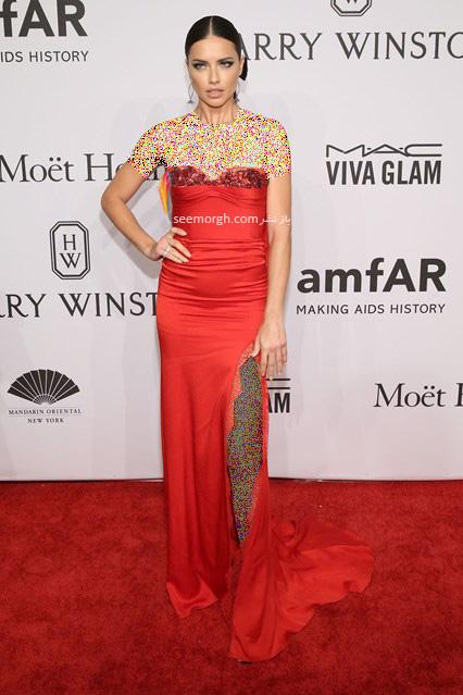 مدل لباس آدریانا لیما Adriana Lima در مراسم بنیاد تحقیقات ایدز amfAR