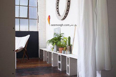با بلوک های سیمانی یک پایه برای  گلدان های آپارتمانی تان درست کنید