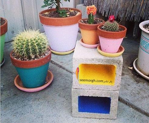 بلوک های سیمانی رنگی برای تزیین حیاط خانه
