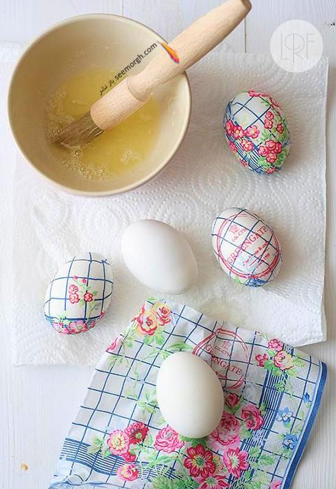 تزیین تخم مرغ هفت سین با دستمال کاغذی طرح دار - مدل شماره 2