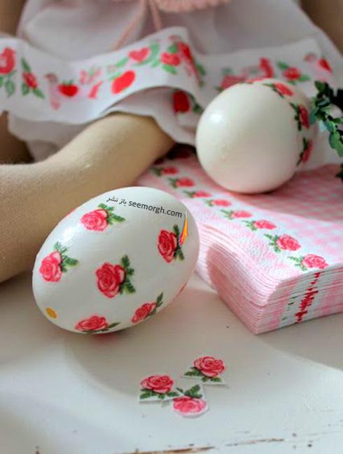 تزیین تخم مرغ هفت سین با دستمال کاغذی طرح دار - مدل شماره 3