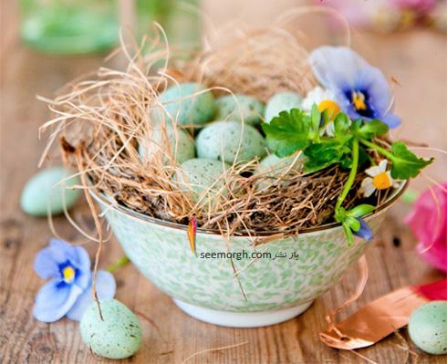 تزیین تخم مرغ هفت سین با گل های طبیعی - مدل شماره 1