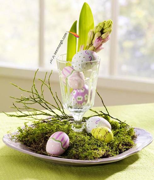تزیین تخم مرغ هفت سین با گل های طبیعی - مدل شماره 2