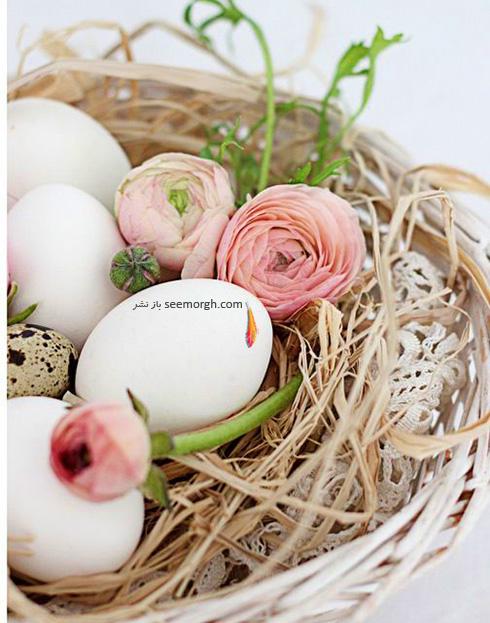 تزیین تخم مرغ هفت سین با گل های طبیعی - مدل شماره 3