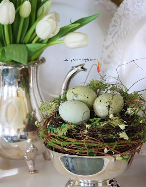 تزیین تخم مرغ هفت سین با گل های طبیعی - مدل شماره 4