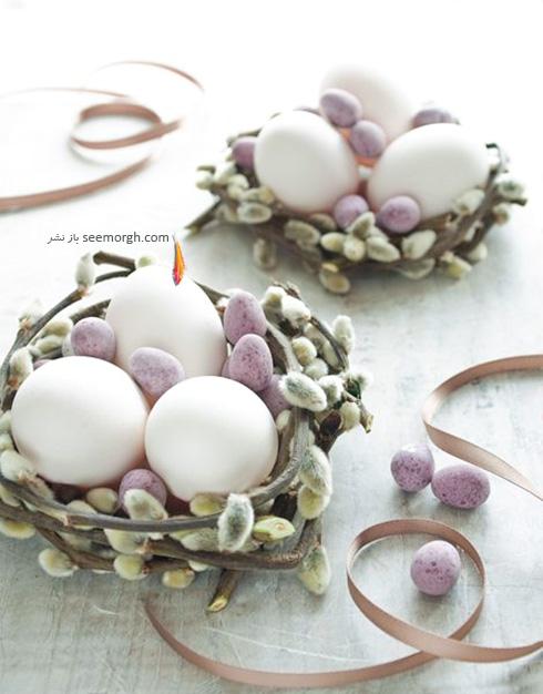 تزیین تخم مرغ هفت سین با گل های طبیعی - مدل شماره 5