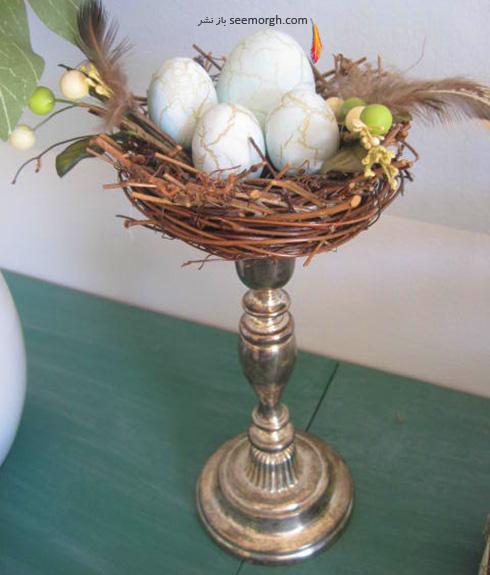 تزیین تخم مرغ هفت سین با گل های طبیعی - مدل شماره 8