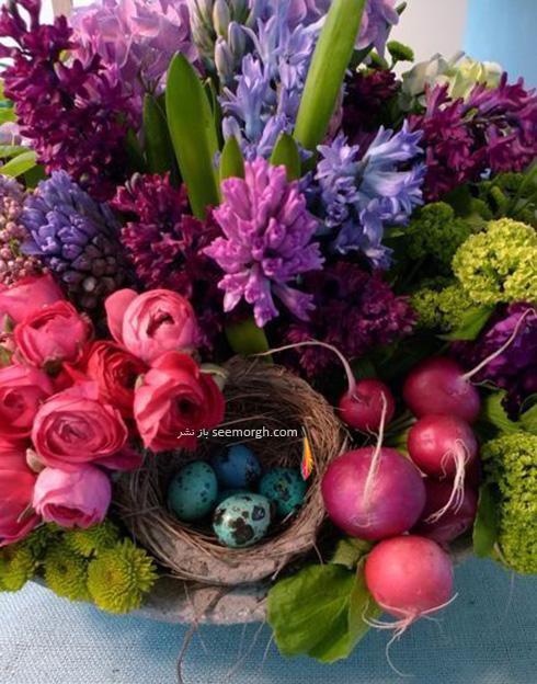 تزیین تخم مرغ هفت سین با گل های طبیعی - مدل شماره 9