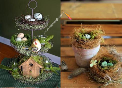تزیین تخم مرغ هفت سین با گل های طبیعی - مدل شماره 11