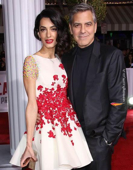 فرش قرمز فیلم جدید جورج کلونی در کنار همسرش