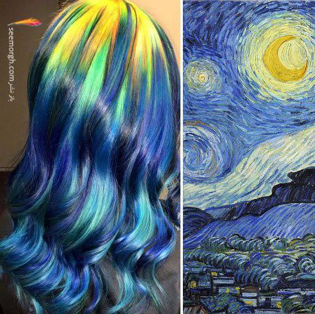 رنگ موی خاص با الهام از نقاشی 4