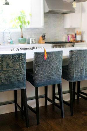 صندلی های آشپزخانه تان را با پارچه های جین تزیین کنید