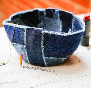 با جین های قدیمی یک ظرف برای جمع اوری زیورآلات تان درست کنید