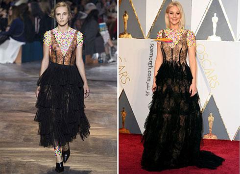لباس جنیفر لارنس Jennifer Lawrence از برند دیور Dior در اسکار 2016