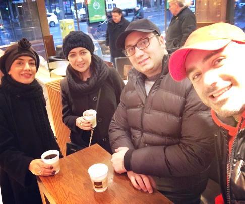 نیکی کریمی در کنار عوامل فیلم شیفت شب در آلمان