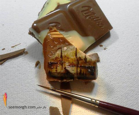 نقاشی برروی تکه شکلات