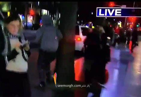فرار پسر پس از حمله کردن به زن گزارشگر