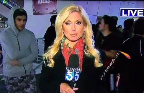 نزدیک شدن پسر به خانم گزارشگر