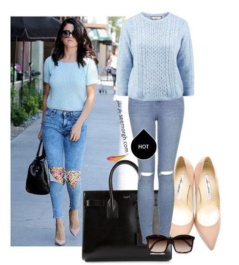 ست کردن شلوار جین به سبک سلنا گومز Selena Gomez - ست شماره 1