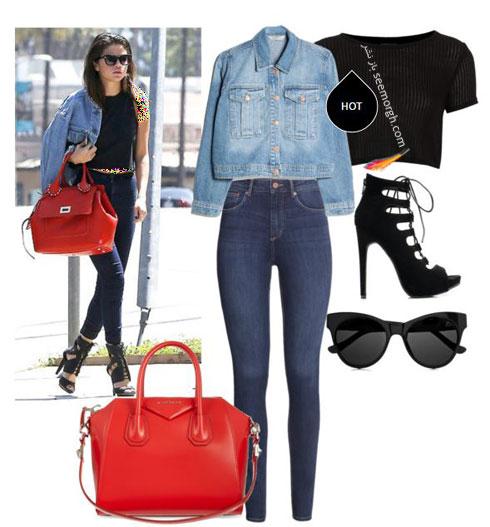 ست کردن شلوار جین به سبک سلنا گومز Selena Gomez - ست شماره 4