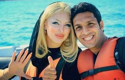 عکس سپهر حیدری و همسرش در قایق