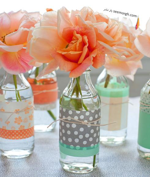 با  شیشه های خالی گلدان هایی بهاری درست کنید