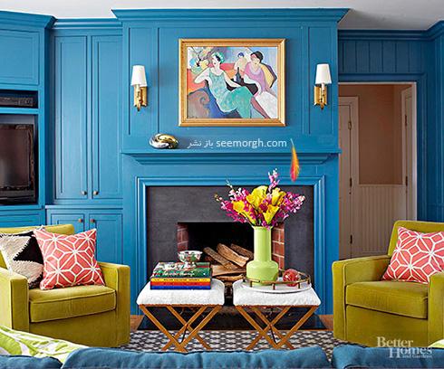 ترکیب آبی کبود و سبز برای یک اتاق نشیمن بهاری