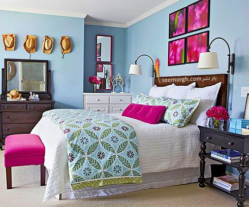 ترکیب آبی روشن و صورتی ارغوانی برای یک اتاق خواب رمانتیک بهاری