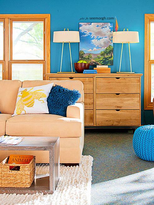 ترکیب رنگ آبی کبود و رنگ چوب