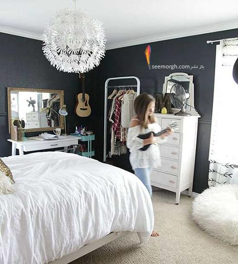 یک اتاق خواب رویایی با دیوارهای ذغالی
