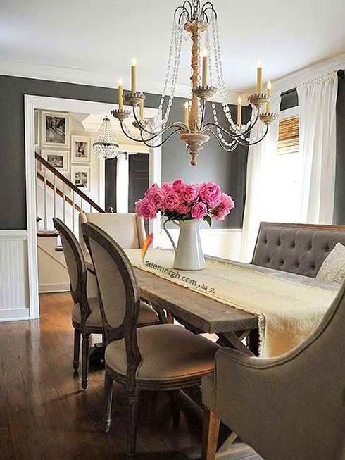 ترکیب طوسی سیر و روشن با قهوه ای برای یک اتاق ناهارخوری آرامش بخش