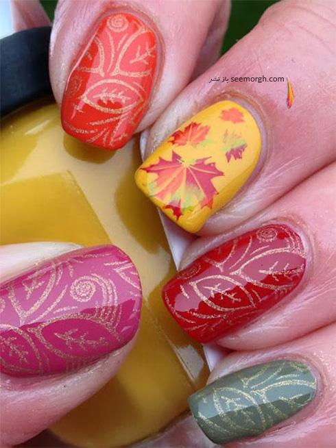 طراحی ناخن با برگ های پاییزی -  عکس شماره 1