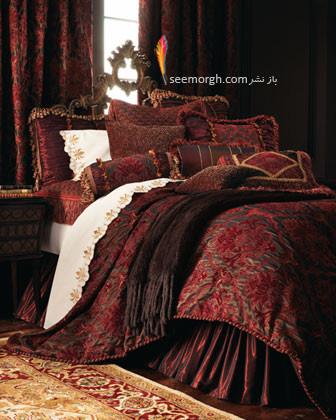 سرویس خواب طلایی با رو تختی زرشکی - عکس شماره 2