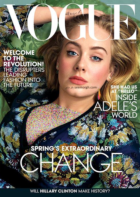 جدیدترین عکس های ادل روی مجله ووگ