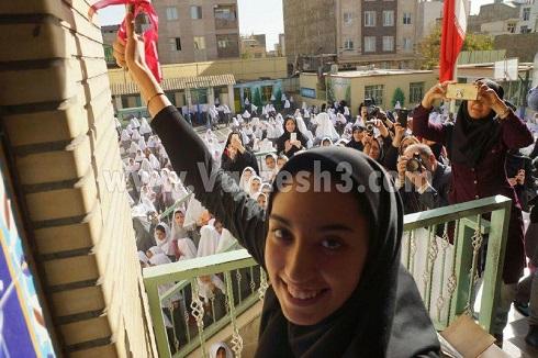 کیمیا علیزاده در افتتاحیه مدرسه