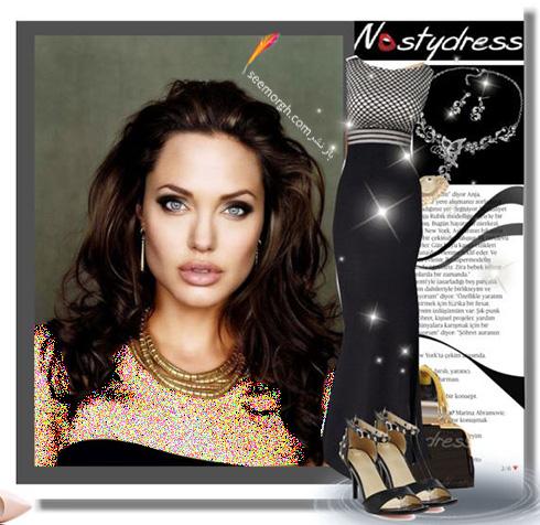 ست کردن لباس شب به سبک انجلینا جولی Angelina Jolie - ست شماره 1