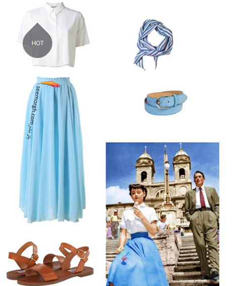ست کردن بلوز و دامن تابستانی به سبک آدری هپبورن Audrey Hepburn - ست شماره 3