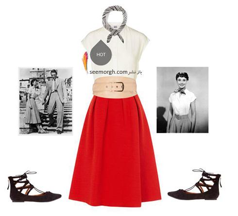 ست کردن بلوز و دامن تابستانی به سبک آدری هپبورن Audrey Hepburn - ست شماره 4