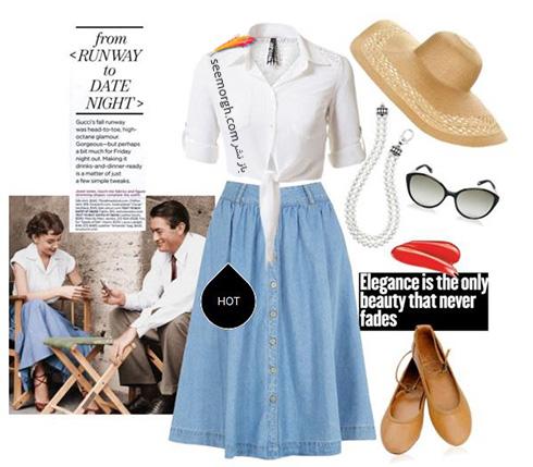 ست کردن بلوز و دامن تابستانی به سبک آدری هپبورن Audrey Hepburn - ست شماره 6