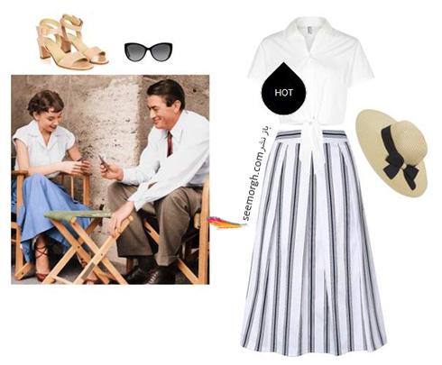 ست کردن بلوز و دامن تابستانی به سبک آدری هپبورن Audrey Hepburn - ست شماره 7